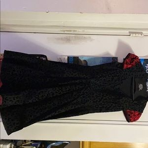 Black and red leopard fit and flare dress